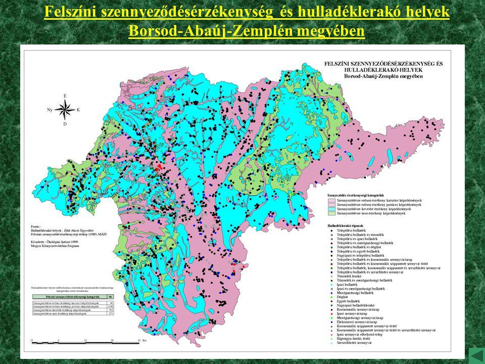 Felszíni szennyeződésérzékenység és hulladéklerakó helyek Borsod-Abaúj-Zemplén megyében