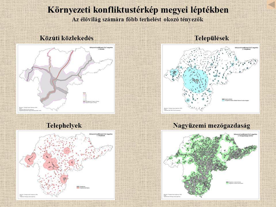 Környezeti konfliktustérkép megyei léptékben TelepülésekKözúti közlekedés TelephelyekNagyüzemi mezőgazdaság Az élővilág számára főbb terhelést okozó tényezők