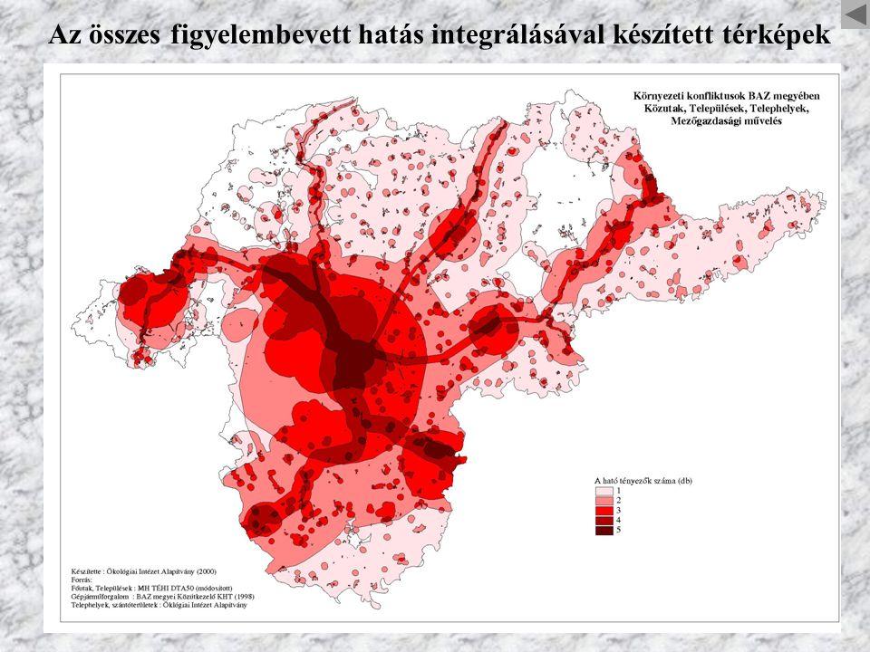 Az összes figyelembevett hatás integrálásával készített térképek