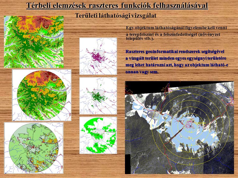 Térbeli elemzések raszteres funkciók felhasználásával Területi láthatósági vizsgálat Egy objektum láthatóságánál figyelembe kell venni a terepfelszínt és a felszínfedettséget (növényzet település stb.).