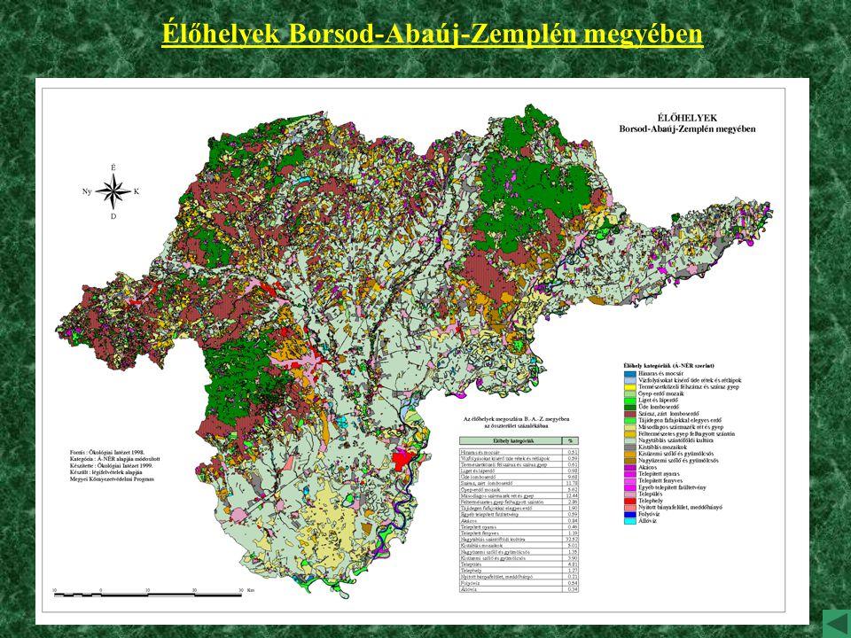 Élőhelyek Borsod-Abaúj-Zemplén megyében
