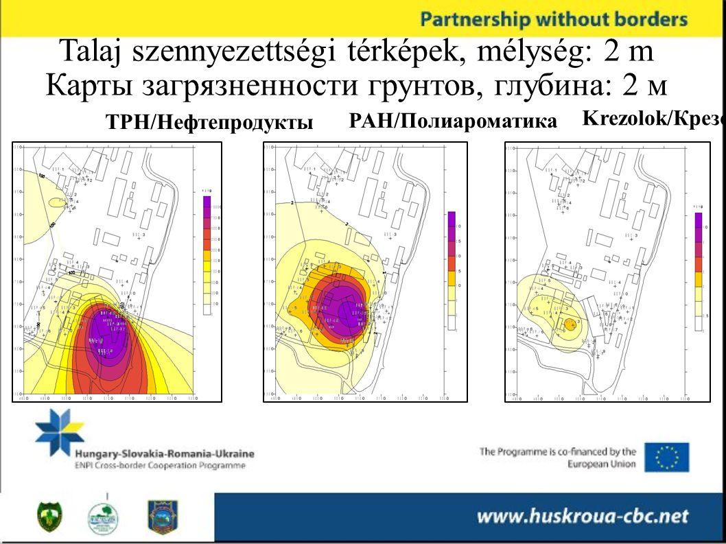 TPH/Нефтепродукты Krezolok/Крезолы PAH/Полиароматика Talaj szennyezettségi térképek, mélység: 2 m Карты загрязненности грунтов, глубина: 2 м