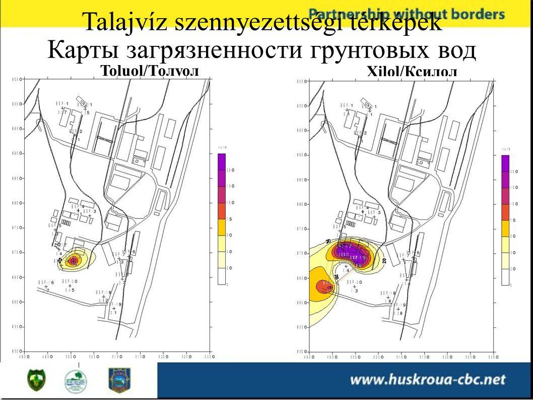 Toluol/Толуол Xilol/Ксилол Talajvíz szennyezettségi térképek Карты загрязненности грунтовых вод