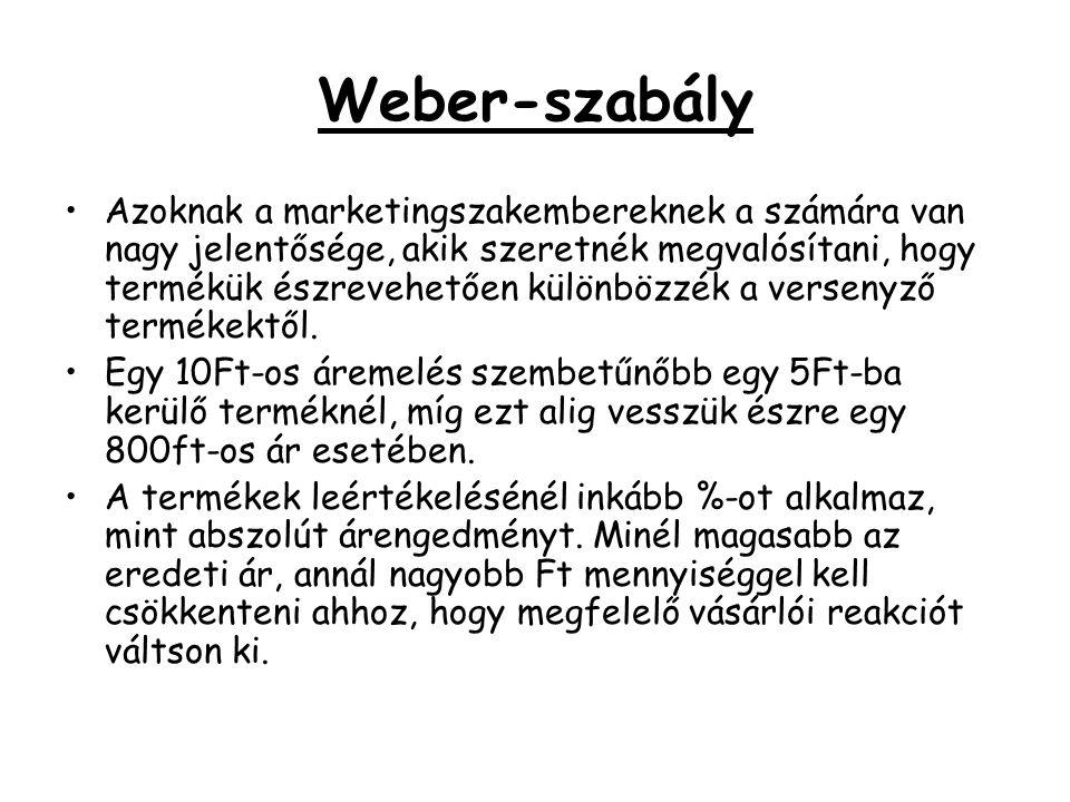 Weber-szabály •Azoknak a marketingszakembereknek a számára van nagy jelentősége, akik szeretnék megvalósítani, hogy termékük észrevehetően különbözzék