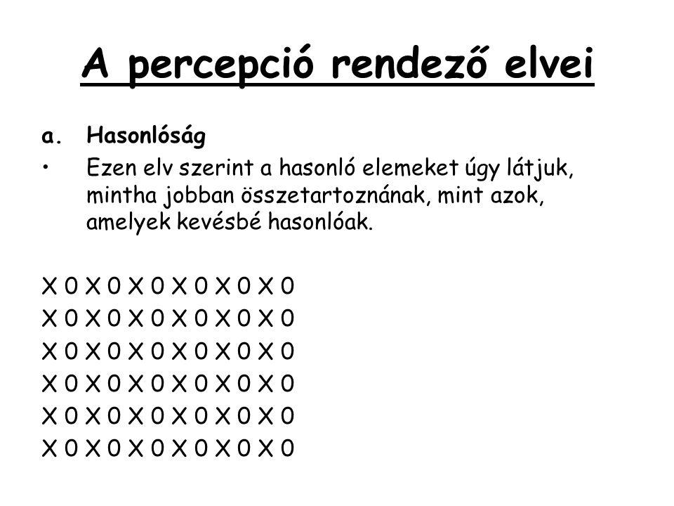 A percepció rendező elvei a.Hasonlóság •Ezen elv szerint a hasonló elemeket úgy látjuk, mintha jobban összetartoznának, mint azok, amelyek kevésbé has