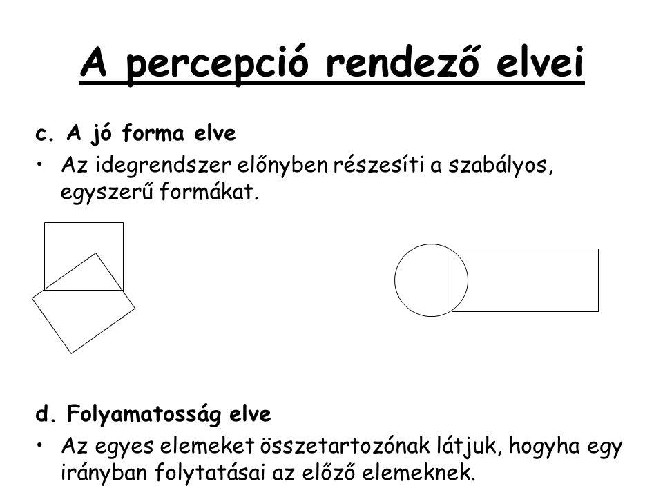 A percepció rendező elvei c. A jó forma elve •Az idegrendszer előnyben részesíti a szabályos, egyszerű formákat. d. Folyamatosság elve •Az egyes eleme