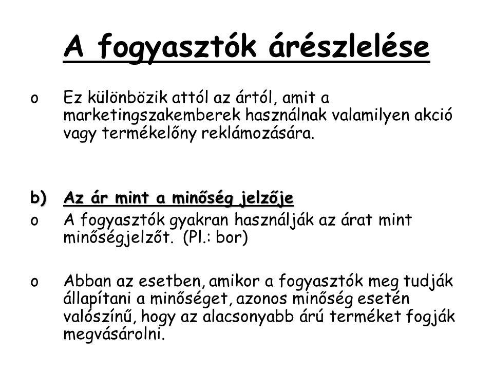 A fogyasztók árészlelése oEz különbözik attól az ártól, amit a marketingszakemberek használnak valamilyen akció vagy termékelőny reklámozására. b)Az á