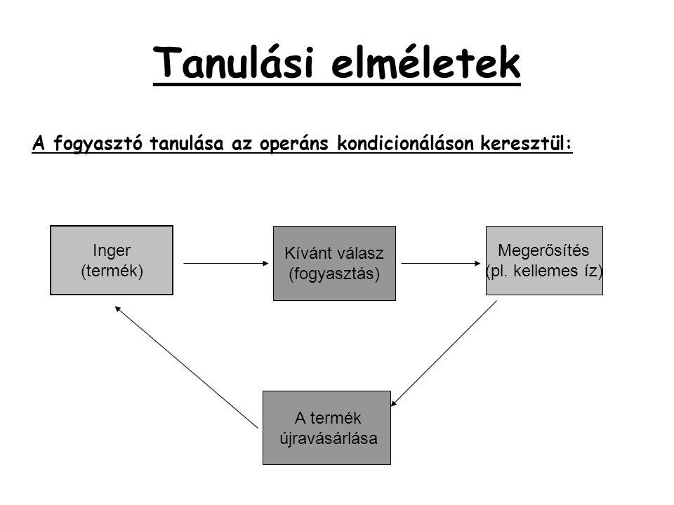 Tanulási elméletek A fogyasztó tanulása az operáns kondicionáláson keresztül: Inger (termék) Kívánt válasz (fogyasztás) Megerősítés (pl. kellemes íz)