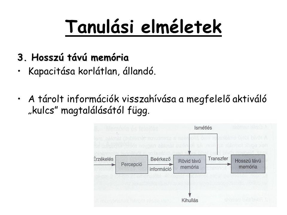 """Tanulási elméletek 3. Hosszú távú memória •Kapacitása korlátlan, állandó. •A tárolt információk visszahívása a megfelelő aktiváló """"kulcs"""" magtalálását"""