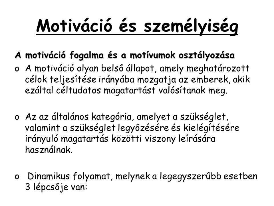 Motiváció és személyiség A motiváció fogalma és a motívumok osztályozása oA motiváció olyan belső állapot, amely meghatározott célok teljesítése irány