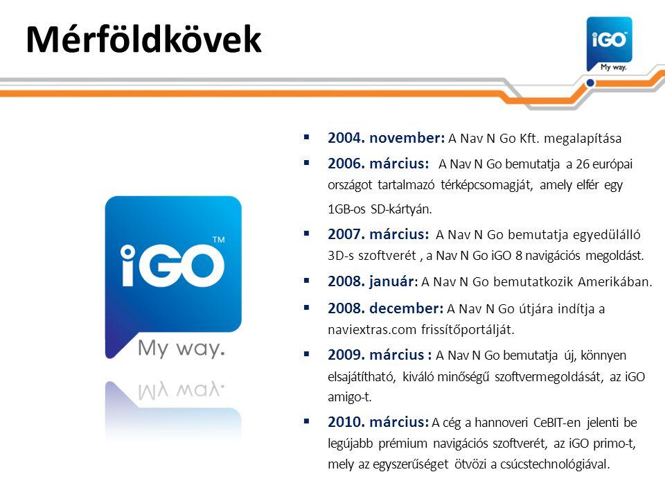 Mérföldkövek  2004. november: A Nav N Go Kft. megalapítása  2006. március: A Nav N Go bemutatja a 26 európai országot tartalmazó térképcsomagját, am