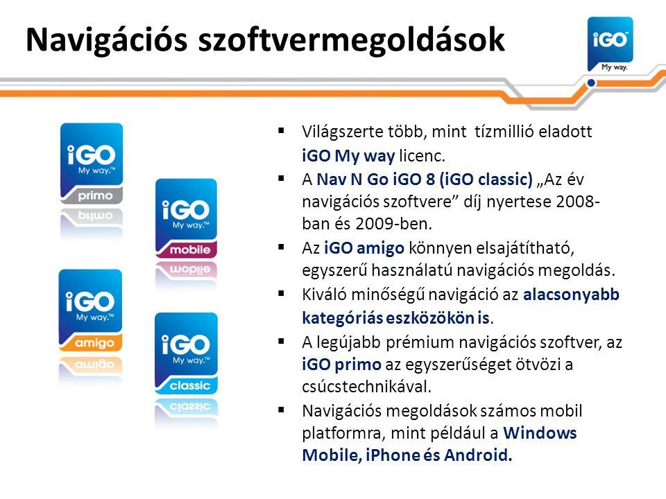 """Navigációs szoftvermegoldások  Világszerte több, mint tízmillió eladott iGO My way licenc.  A Nav N Go iGO 8 (iGO classic) """"Az év navigációs szoftve"""