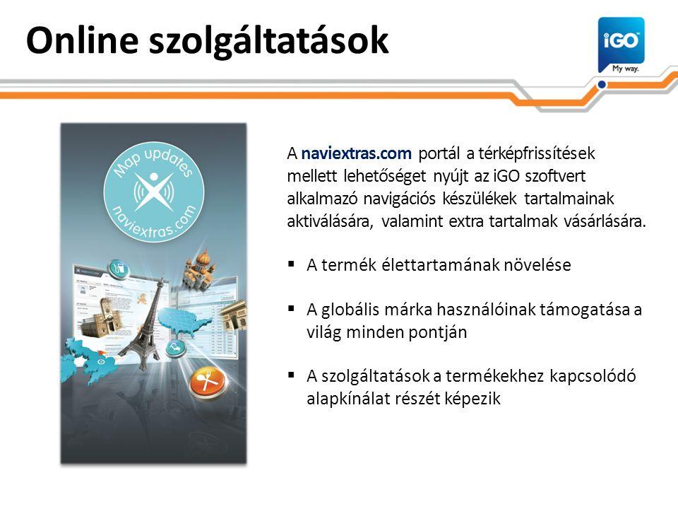 Online szolgáltatások A naviextras.com portál a térképfrissítések mellett lehetőséget nyújt az iGO szoftvert alkalmazó navigációs készülékek tartalmai