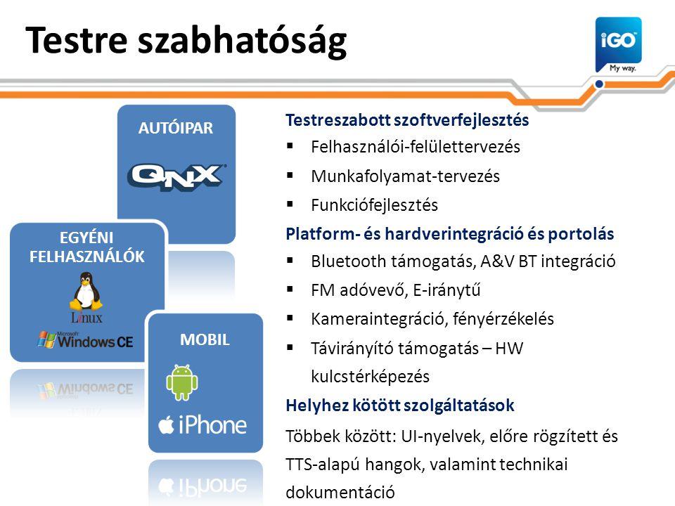 Testre szabhatóság Testreszabott szoftverfejlesztés  Felhasználói-felülettervezés  Munkafolyamat-tervezés  Funkciófejlesztés Platform- és hardverintegráció és portolás  Bluetooth támogatás, A&V BT integráció  FM adóvevő, E-iránytű  Kameraintegráció, fényérzékelés  Távirányító támogatás – HW kulcstérképezés Helyhez kötött szolgáltatások Többek között: UI-nyelvek, előre rögzített és TTS-alapú hangok, valamint technikai dokumentáció