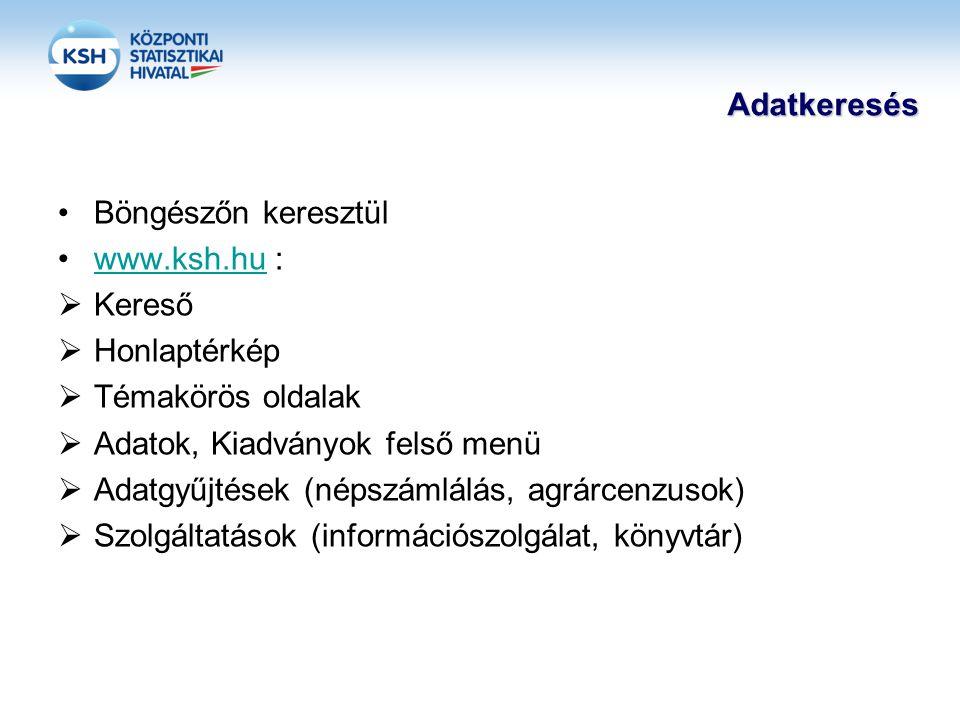 Adatkeresés •Böngészőn keresztül •www.ksh.hu :www.ksh.hu  Kereső  Honlaptérkép  Témakörös oldalak  Adatok, Kiadványok felső menü  Adatgyűjtések (népszámlálás, agrárcenzusok)  Szolgáltatások (információszolgálat, könyvtár)