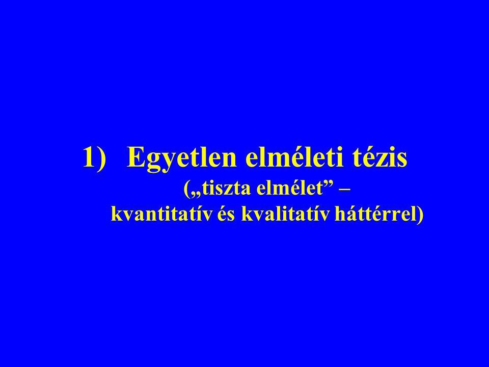 """1)Egyetlen elméleti tézis (""""tiszta elmélet – kvantitatív és kvalitatív háttérrel)"""