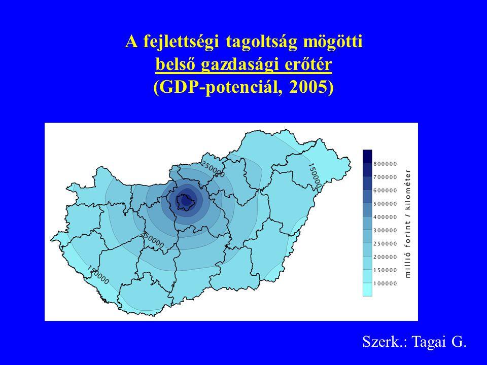 A fejlettségi tagoltság mögötti belső gazdasági erőtér (GDP-potenciál, 2005) Szerk.: Tagai G.