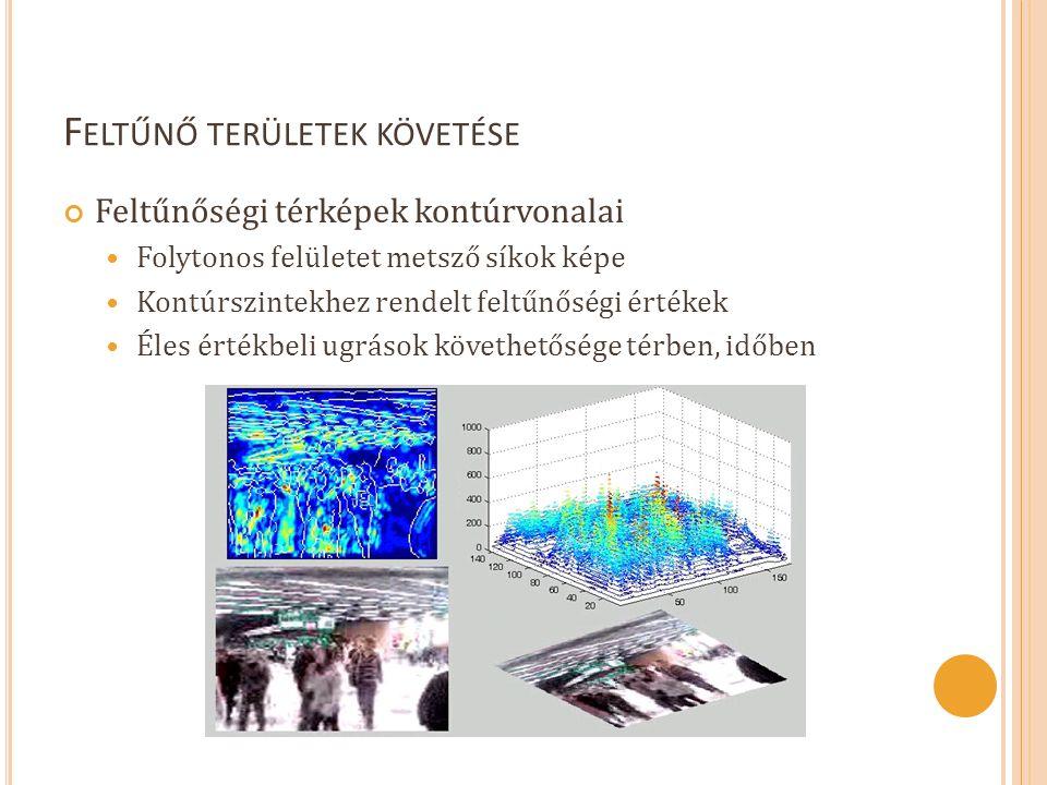 F ELTŰNŐ TERÜLETEK KÖVETÉSE Feltűnőségi térképek kontúrvonalai  Folytonos felületet metsző síkok képe  Kontúrszintekhez rendelt feltűnőségi értékek  Éles értékbeli ugrások követhetősége térben, időben