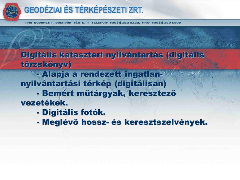 Digitális kataszteri nyilvántartás (digitális törzskönyv) - Alapja a rendezett ingatlan- nyilvántartási térkép (digitálisan) - Bemért műtárgyak, keres