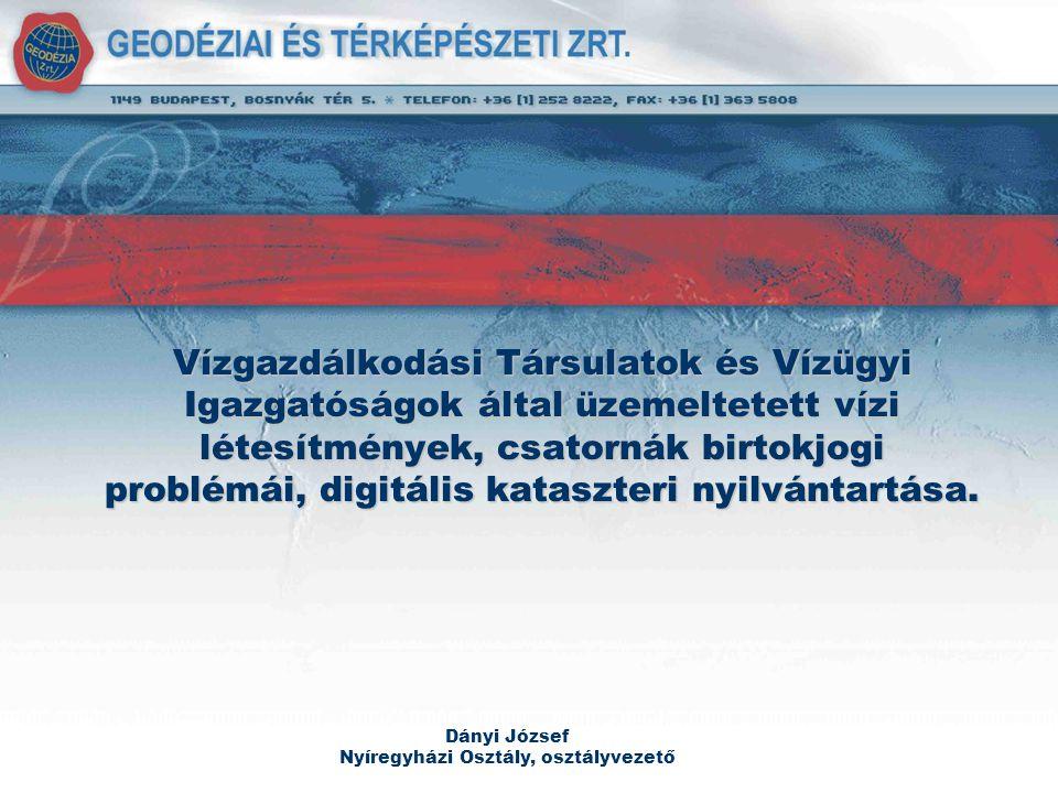 Referenciák Vezetéklegalizációs feladatok (E.ON, DÉMÁSZ, ELMŰ-ÉMÁSZ) Digitális szakági térképek (TIGÁZ, E.ON) Kataszteri térképek (Nemzeti Kataszteri Program, Ország 88%-a) Térinformatika (MGCP – HM Térképészeti Kht.) Topográfia (FÖMI-GVOP, HM Térképészeti Kht.