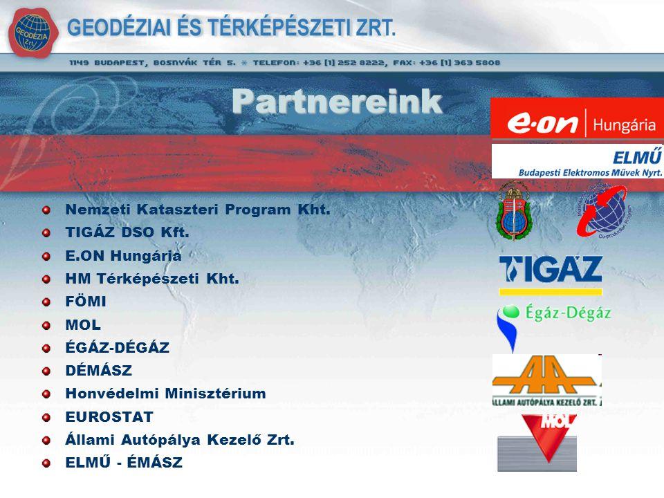 Partnereink Nemzeti Kataszteri Program Kht. TIGÁZ DSO Kft. E.ON Hungária HM Térképészeti Kht. FÖMI MOL ÉGÁZ-DÉGÁZ DÉMÁSZ Honvédelmi Minisztérium EUROS