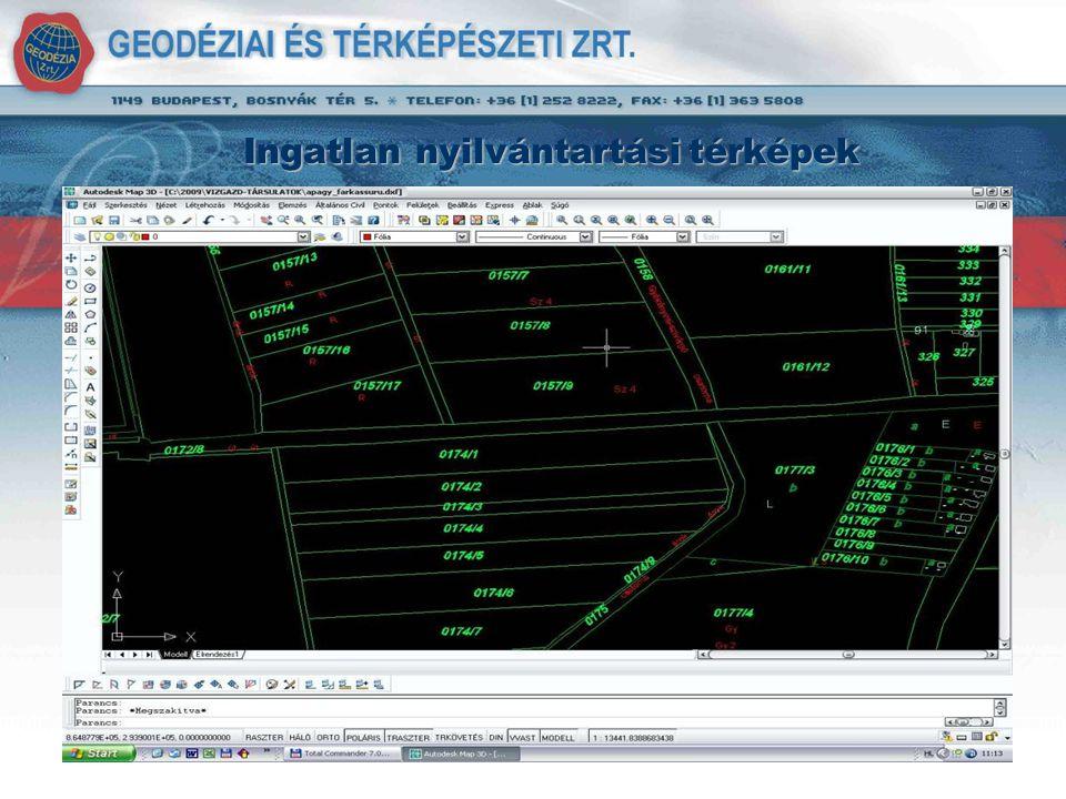 Digitális kataszteri nyilvántartás (digitális törzskönyv) - Alapja a rendezett ingatlan- nyilvántartási térkép (digitálisan) - Bemért műtárgyak, keresztező vezetékek.