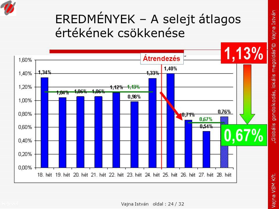 """Fejezet: Vajna VSM Kft. """"Globális gondolkodás, lokális megoldás""""© Vajna István EREDMÉNYEK – A selejt átlagos értékének csökkenése 1,13% 0,67% Átrendez"""
