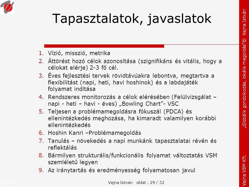 """Fejezet: Vajna VSM Kft. """"Globális gondolkodás, lokális megoldás""""© Vajna István Tapasztalatok, javaslatok 1.Vízió, misszió, metrika 2.Áttörést hozó cél"""