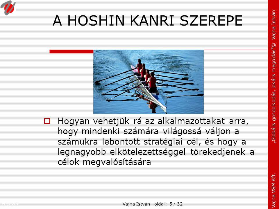 """Fejezet: Vajna VSM Kft. """"Globális gondolkodás, lokális megoldás""""© Vajna István A HOSHIN KANRI SZEREPE  Hogyan vehetjük rá az alkalmazottakat arra, ho"""