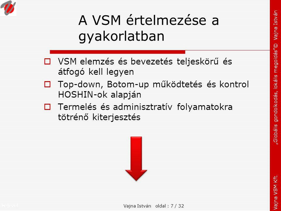 """Fejezet: Vajna VSM Kft. """"Globális gondolkodás, lokális megoldás""""© Vajna István A VSM értelmezése a gyakorlatban  VSM elemzés és bevezetés teljeskörű"""