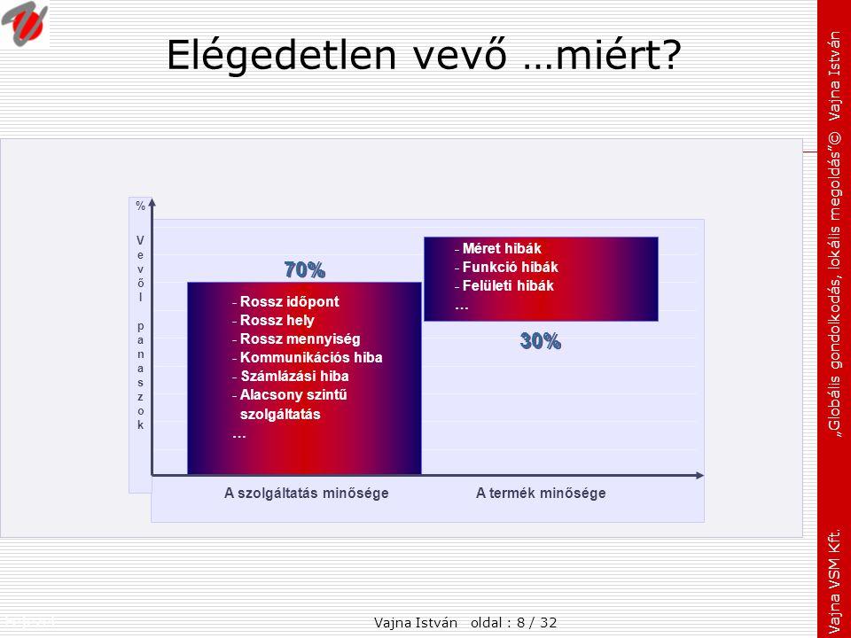 """Fejezet: Vajna VSM Kft. """"Globális gondolkodás, lokális megoldás""""© Vajna István Elégedetlen vevő …miért? %VevőI panaszok%VevőI panaszok A szolgáltatás"""