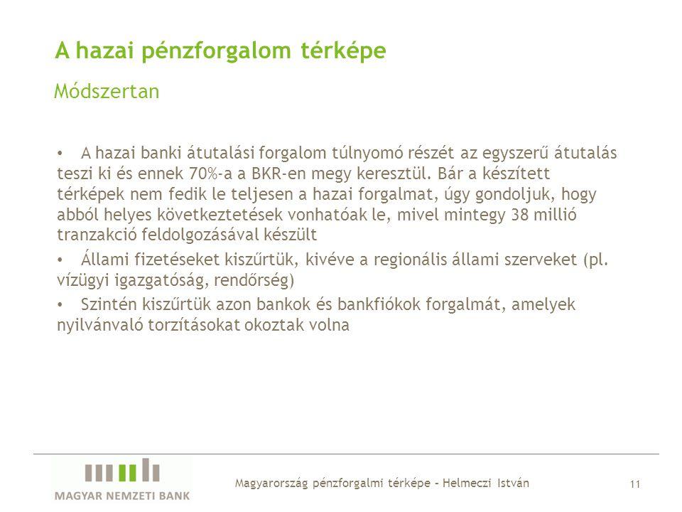 A hazai pénzforgalom térképe Módszertan • A hazai banki átutalási forgalom túlnyomó részét az egyszerű átutalás teszi ki és ennek 70%-a a BKR-en megy keresztül.