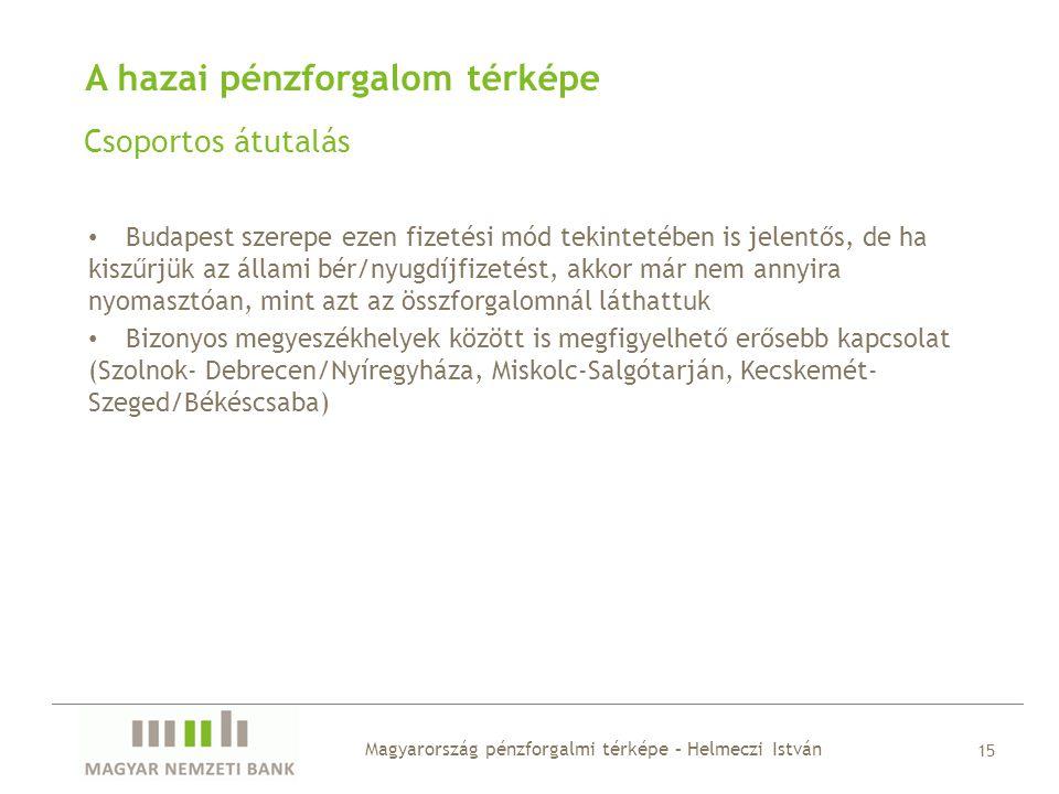 A hazai pénzforgalom térképe Csoportos átutalás Magyarország pénzforgalmi térképe – Helmeczi István 15 • Budapest szerepe ezen fizetési mód tekintetéb