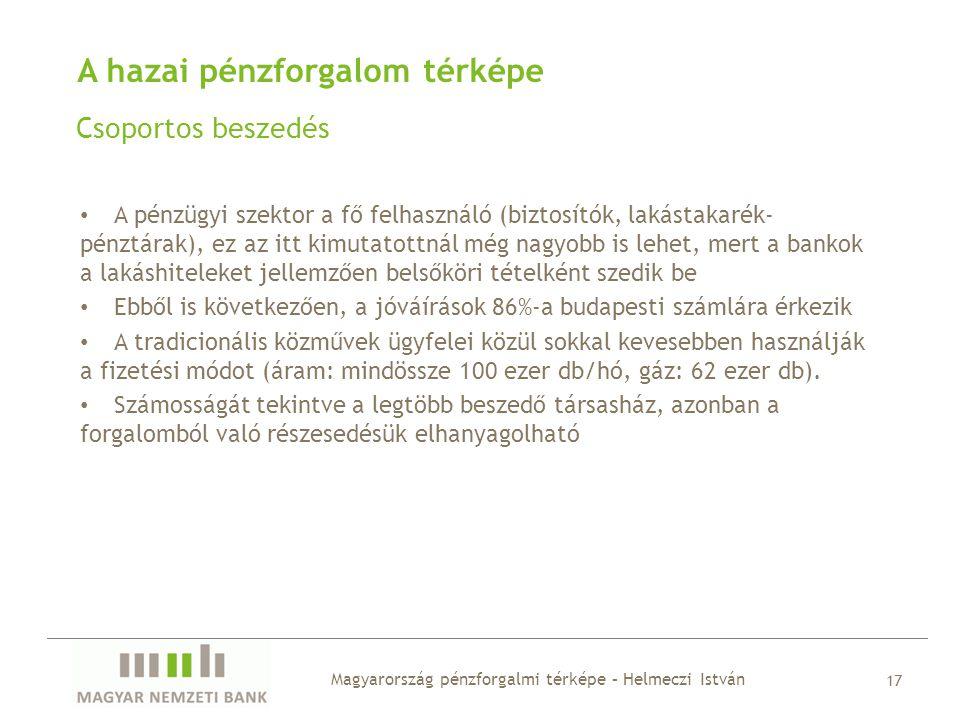 A hazai pénzforgalom térképe Csoportos beszedés Magyarország pénzforgalmi térképe – Helmeczi István 17 • A pénzügyi szektor a fő felhasználó (biztosít