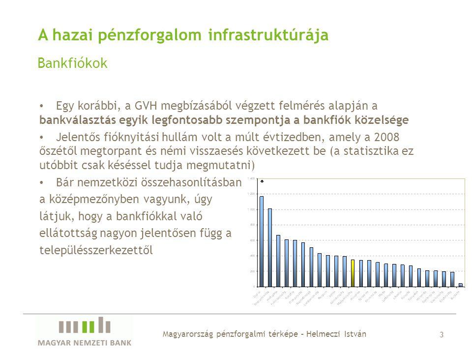 A hazai pénzforgalom infrastruktúrája Bankfiókok • Egy korábbi, a GVH megbízásából végzett felmérés alapján a bankválasztás egyik legfontosabb szempon