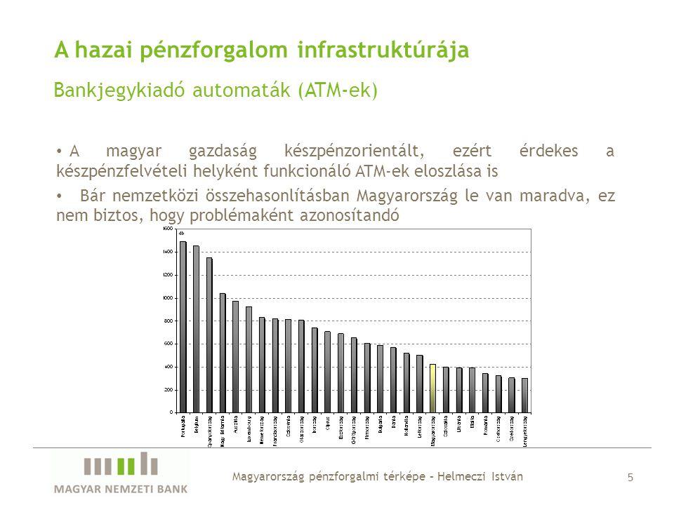 A hazai pénzforgalom infrastruktúrája Bankjegykiadó automaták (ATM-ek) • A magyar gazdaság készpénzorientált, ezért érdekes a készpénzfelvételi helyké