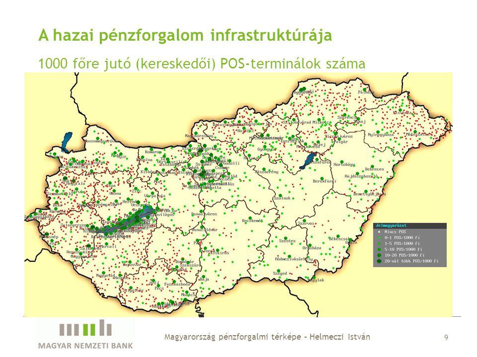 Konklúziók • a földrajzi különbségek nagyon sokat számítanak, egyes megyékben a lakosság 25%-a, máshol csak 2-3%-a lakik bankfiók nélküli településen • mind az ATM-ek, mind a kereskedői POS-ok tekintetében erős koncentráció figyelhető meg • a kis lélekszámú településeken élők gyakorlatilag el vannak zárva ezen szolgáltatások igénybevételétől, ezen a Posta lenne képes nagymértékben segíteni • a pénzforgalom elsősorban a közeli partnerekkel bonyolódik, a távolság növekedésével a gazdasági kapcsolatok száma erőteljesen csökken • Budapest nagyon erős gazdasági központ, az egyes megyék tipikusan erősebben kötődnek a fővároshoz, mint a másik 18 megyéhez összesen • a pénzforgalmi infrastruktúra megléte egyértelmű pozitív hatást gyakorol a szolgáltatások igénybevételére, de ez nem lineáris jellegű Magyarország pénzforgalmi térképe – Helmeczi István 20