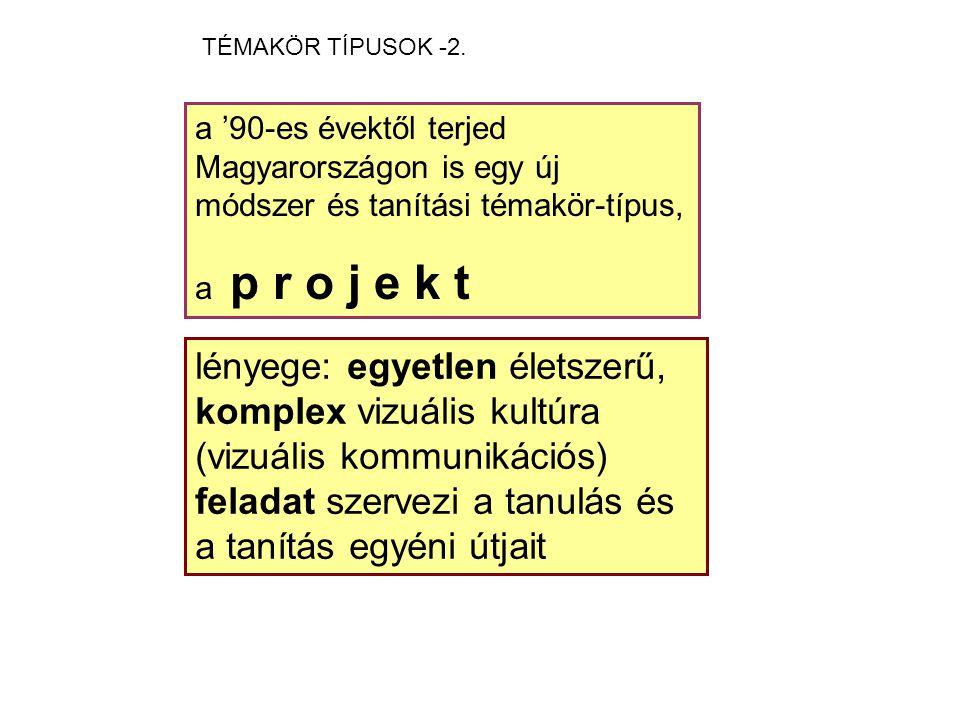a '90-es évektől terjed Magyarországon is egy új módszer és tanítási témakör-típus, a p r o j e k t lényege: egyetlen életszerű, komplex vizuális kultúra (vizuális kommunikációs) feladat szervezi a tanulás és a tanítás egyéni útjait TÉMAKÖR TÍPUSOK -2.