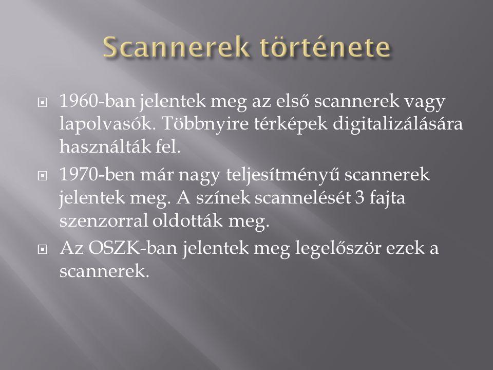  1960-ban jelentek meg az első scannerek vagy lapolvasók.