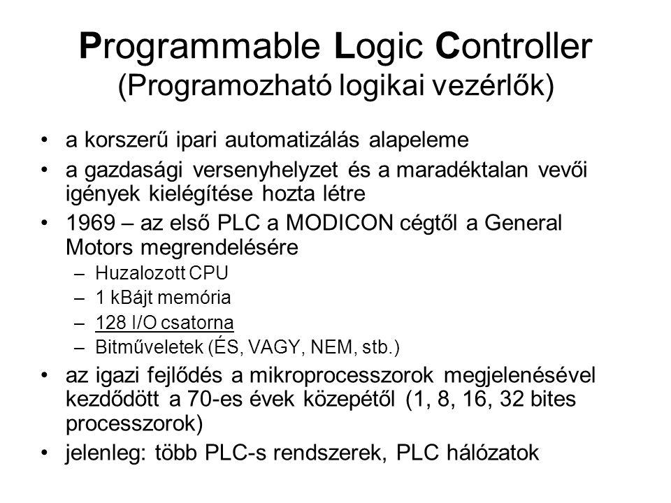 Programmable Logic Controller (Programozható logikai vezérlők) •a korszerű ipari automatizálás alapeleme •a gazdasági versenyhelyzet és a maradéktalan
