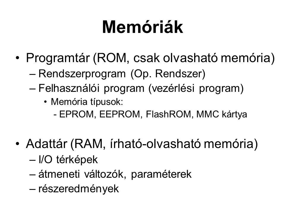 Memóriák •Programtár (ROM, csak olvasható memória) –Rendszerprogram (Op. Rendszer) –Felhasználói program (vezérlési program) •Memória típusok: - EPROM