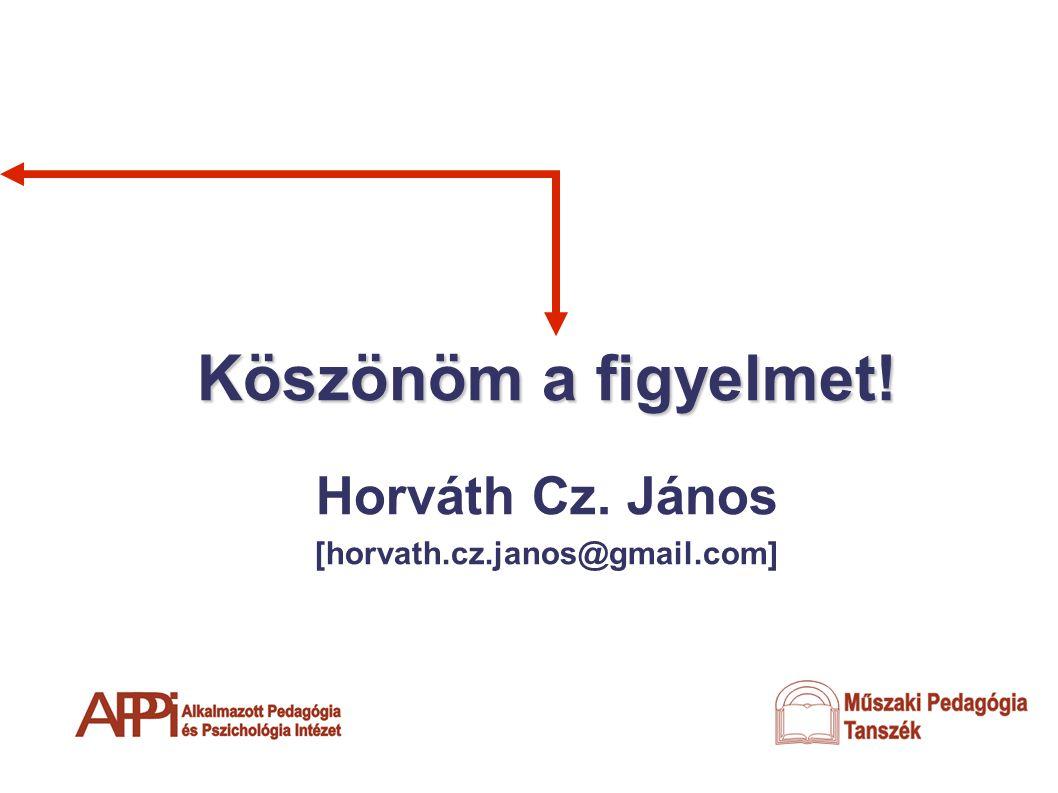 Köszönöm a figyelmet! Horváth Cz. János [horvath.cz.janos@gmail.com]
