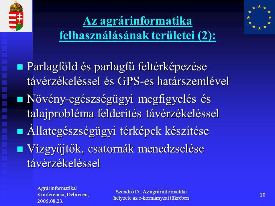 Agrárinformatikai Konferencia, Debrecen, 2005.08.23. Szendrő D.: Az agrárinformatika helyzete az e-kormányzat tükrében 10 Az agrárinformatika felhaszn