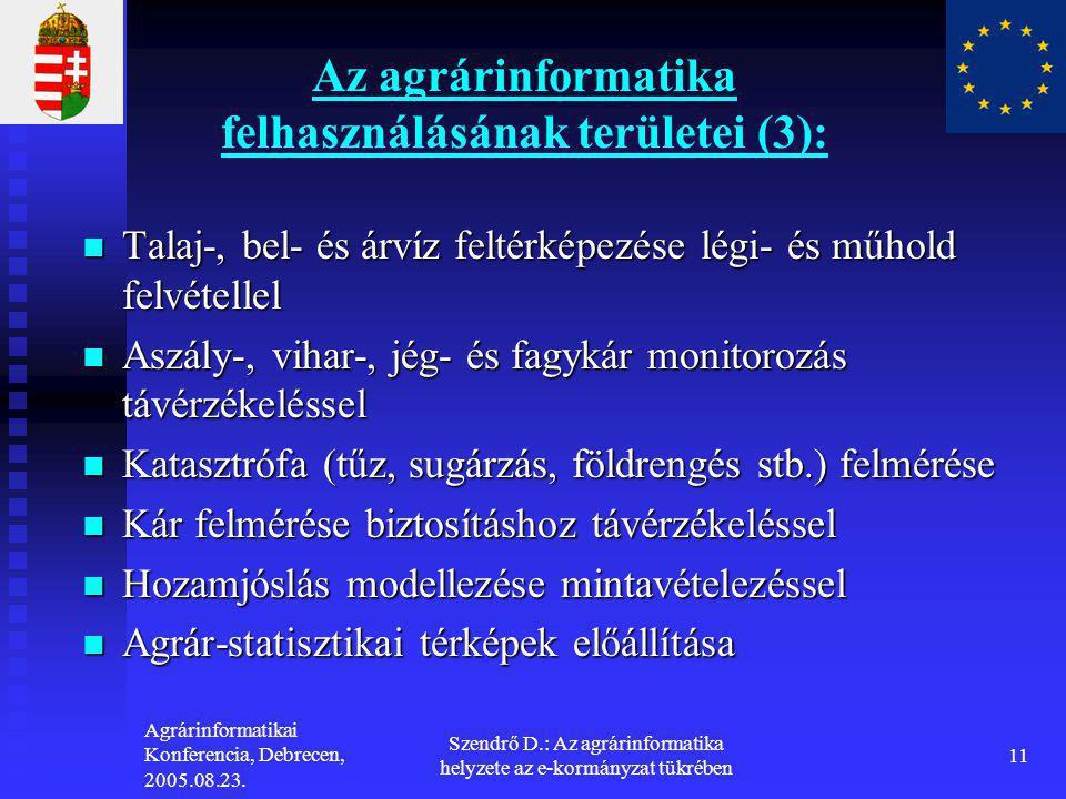Agrárinformatikai Konferencia, Debrecen, 2005.08.23. Szendrő D.: Az agrárinformatika helyzete az e-kormányzat tükrében 11 Az agrárinformatika felhaszn