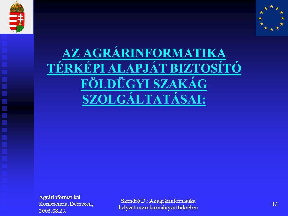 Agrárinformatikai Konferencia, Debrecen, 2005.08.23. Szendrő D.: Az agrárinformatika helyzete az e-kormányzat tükrében 13 AZ AGRÁRINFORMATIKA TÉRKÉPI