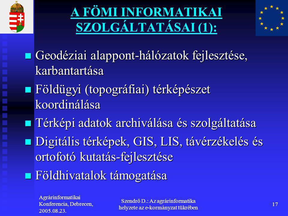 Agrárinformatikai Konferencia, Debrecen, 2005.08.23. Szendrő D.: Az agrárinformatika helyzete az e-kormányzat tükrében 17 A FÖMI INFORMATIKAI SZOLGÁLT