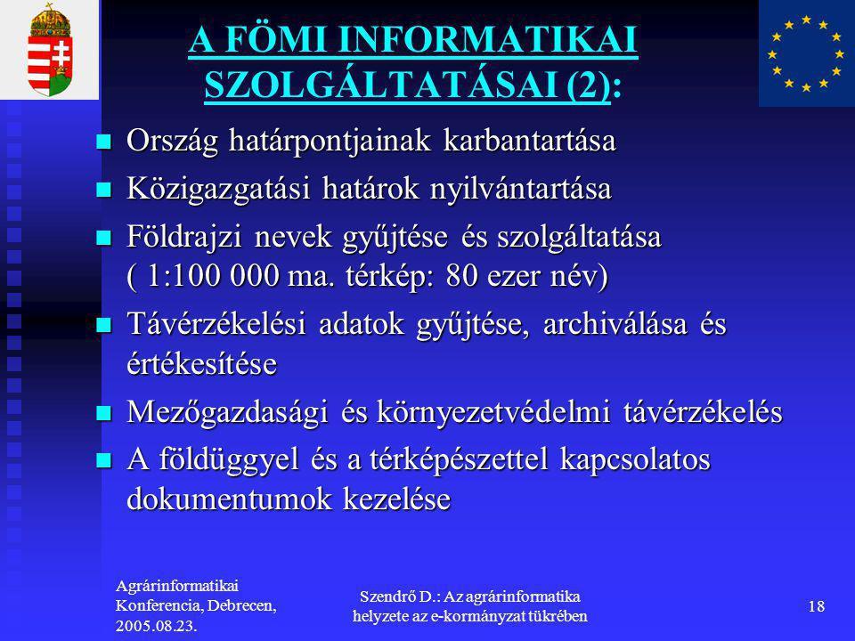 Agrárinformatikai Konferencia, Debrecen, 2005.08.23. Szendrő D.: Az agrárinformatika helyzete az e-kormányzat tükrében 18 A FÖMI INFORMATIKAI SZOLGÁLT