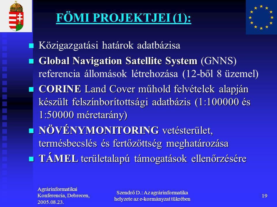 Agrárinformatikai Konferencia, Debrecen, 2005.08.23. Szendrő D.: Az agrárinformatika helyzete az e-kormányzat tükrében 19 FÖMI PROJEKTJEI (1):   Köz