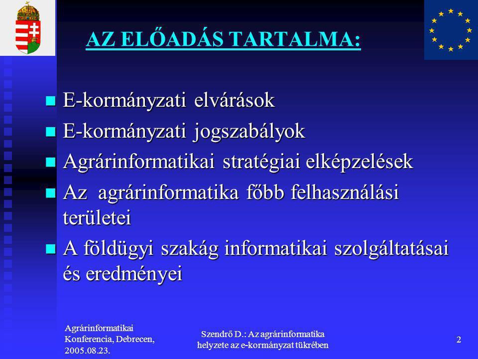 Agrárinformatikai Konferencia, Debrecen, 2005.08.23. Szendrő D.: Az agrárinformatika helyzete az e-kormányzat tükrében 2 AZ ELŐADÁS TARTALMA:  E-korm
