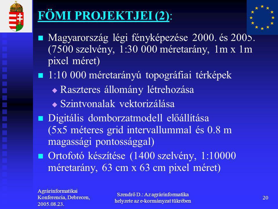 Agrárinformatikai Konferencia, Debrecen, 2005.08.23. Szendrő D.: Az agrárinformatika helyzete az e-kormányzat tükrében 20 FÖMI PROJEKTJEI (2):   Mag